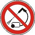 Verbotszeichen - Mit Hochdruck reinigen verboten - Ø 50 mm - 100 Verbotsschilder aus Polypropylen Folie, weiß (Aufdruckfarbe: schwarz/rot), permanent haftend