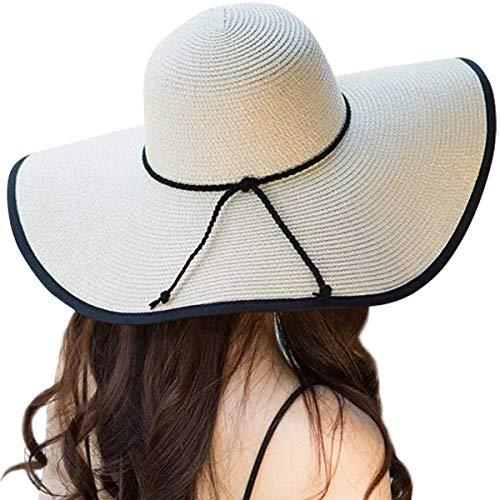 DRESHOW Sombrero de paja de ala ancha para mujer Floppy plegable Gorra de playa  Sombrero para 444aaf3fa23