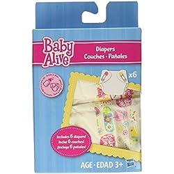 Muñeca de juguete Baby Alive; Paquete de pañales;incluye 6bebidas y pañaleshúmedos; Super bocadillos