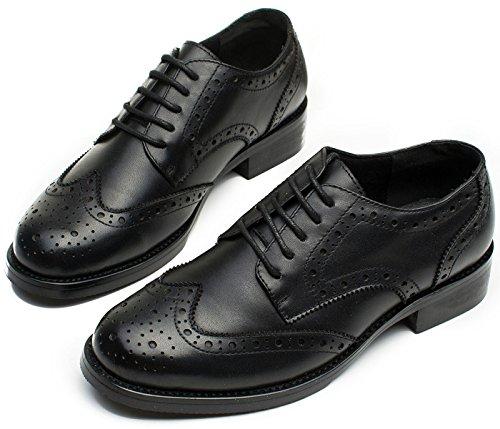 SimpleC Damen Vintage Brogue Bequem Business&Schnürhalbschuhe Leder Klassiker Perforierte Wingtip Oxfords Schwarz