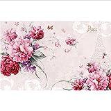 European 3D Wallpaper Murales flor paris tower Wallpaper para paredes Papel pintado 3D romántico Papel de parede-400x280cm