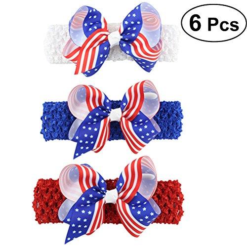 gen-Stirnband-Baby-Mädchen Bowknot Hairband für Unabhängigkeitstag, 6PCS ()