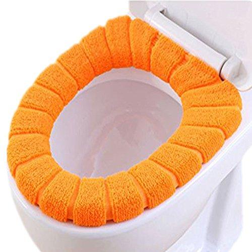 Yuhemii wc, più spessi più caldo morbido elastico di stoffa lavabile tappetino wc imbottito orange