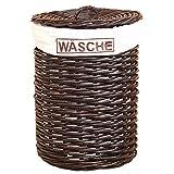 Wäschekorb H123, Wäschesammler, Kubu-Rattan handgeflochten, 66x48x48cm  dunkelbraun