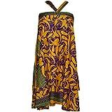 Mogul Interior Womens Wrap Skirt Paisley Print Reversible Premium Silk Sari Beach Dress