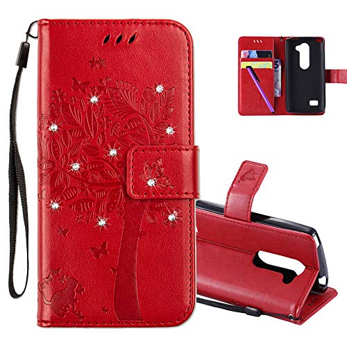 COTDINFOR LG Leon H340N C40 Hülle für Mädchen Elegant Retro Premium PU Lederhülle Handy Tasche mit Magnet Standfunktion Schutz Etui für LG Leon 4G LTE H340N C40 C50 Red Wishing Tree with Diamond KT.