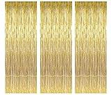 3 Confezioni di Tende Metalliche orde Lamina Frangia Tenda luccicante Decorazione della Finestra per la Festa di Compleanno Forniture per Feste di Nozze 3ft*8ft(1m*3m - Oro