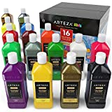 ARTEZA Premium Kids Tempera Paint, 400 ml, 16 Rich, Opaque Colours, Neon, Metallic, Glitter, and Standard Colours with an Easy Squeeze Bottle and an Easy Pour Spout, Ideal for Children, Hobby Painters