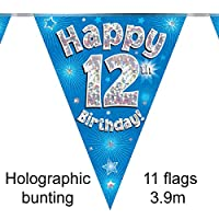 Happy 12th Birthday Blue Holographic Foil Party Bunting 3.9m Long 11 Flags
