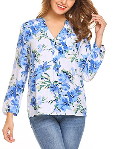 Meaneor Damen Locker Casual Bluse mit allover Blumenprint Beiläufig Bluse Schluppenbluse Klassic Hemd Blusenshirt Loose fit Baumwolle (B)Blumenprint