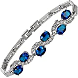 Jewellery Oval Cut Multi Color Gemstones Fine CZ 18K White gold Plated [18cm/7inch] Tennis Bracelet Simple Modern Elegance [Free Jewelry Pouch]