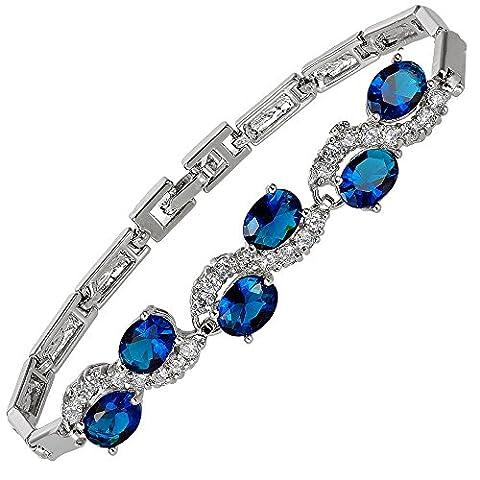 Jewellery Oval Cut Blue Sapphire Color Gemstones Fine CZ 18K