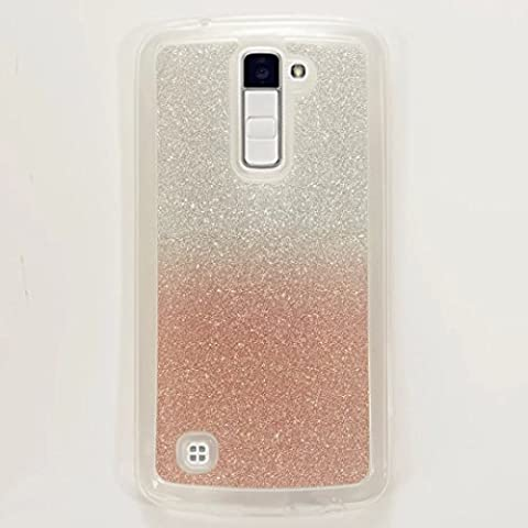 MUTOUREN Etui pour Coque LG K10 Premium Bling style anneau titulaire TPU Stand Retour cas Bling Glitter et Flexible TPU Silicone Hybride Souple Housse Etui Or Rose Rose gold