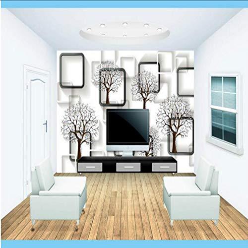 (zxfcccky) Custom Home Improvement 3d Wall Paper Rollen Po Wallpaper für Wände 3D Schwarz-Weiß-karierten 3D-Baum-Tapeten350X250CM