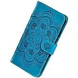Herbests Mandala Cover compatibile con Samsung Galaxy A20 Leather Case Custodia a Portafoglio Libro Flip Cover Protettiva Puro Color Pelle Wallet Custodia con Porta Carte Slots,Blu