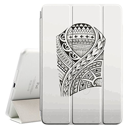YOYOcovers [ FOR iPad Mini 2 / 3 / 4 ] Smart Cover con funzione del basamento di sonno - Tattoo Art Pattern Fish Viking Style