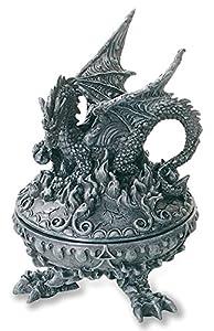 KATERINA PRESTIGE - Caja Redonda con diseño de dragón y alas deployees, BROHF0687