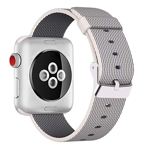 HILIMNY For Apple Watch Strap 42MM, Stainless Steel Buckle iWatch Strap, for 3 Series, 2 Series, 1 Series, Nike +, Edition, Hermes, Pearl, 42MM