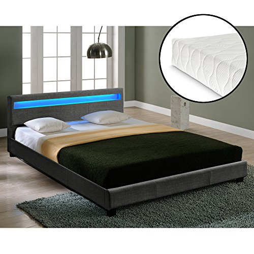 Corium® Hochwertiges LED-Bett aus Stoff 180x200cm dunkelgrau inkl. Fernbedienung + Matratze thumbnail