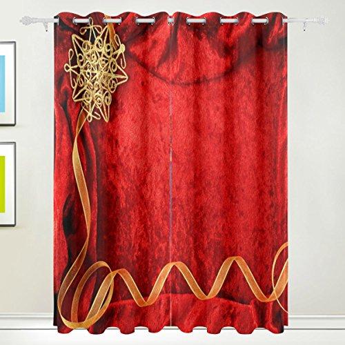 XiangHeFu Schöne Einrichtung Verdunklungsvorhänge mit Tülle Top Hochzeit Einladung rot Hintergrund Vorhänge Set von 2Platten, je 55W x 84L Zoll für Home Wohnzimmer Schlafzimmer Büro