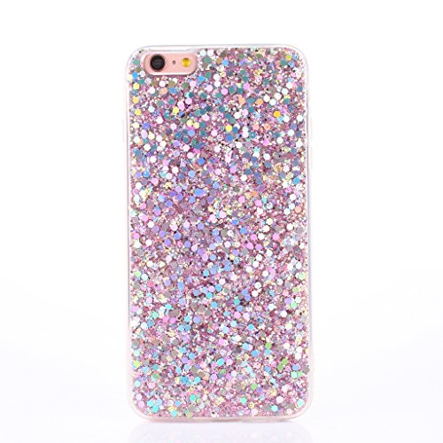 iPhone 6s Case [With Free Tempered Glass Screen Protector],Mo-Beauty® Luxury Bling Shiny Sparkle Glitter Crystal [Slim Fit] Shockproof Shining Fashion Style Soft Flexible TPU Silicone Gel Protective Shell Case Cover For Apple iPhone 6/6S (Pink)