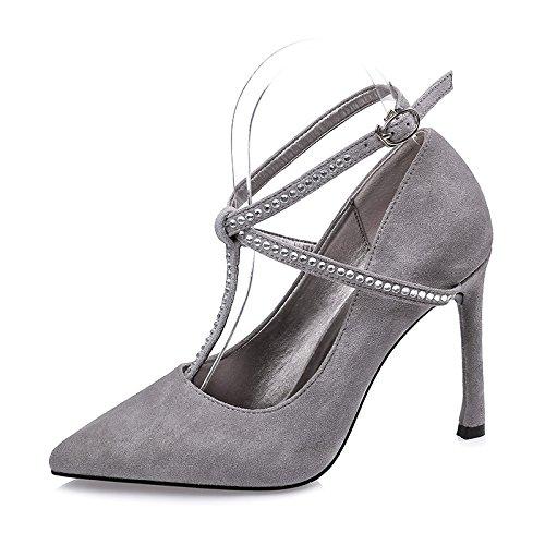 FLYRCX Autunno e Inverno con punta sottile sexy bocca poco profonda suede Strappy tacchi lady scarpe. A