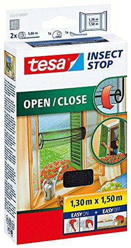 5er Pack tesa Fliegengitter für Fenster zum Öffnen und Schließen, durchsichtig, bis 1,3m x 1,5m