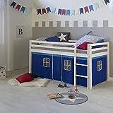 Homestyle4u 1536, Kinderbett 90x200 Weiß, Hochbett Kinder mit Vorhang Blau, Holz Kiefer