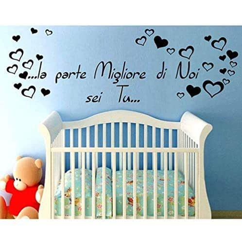 Adesivo Murale Wall Stickers Frase Citazione Dedica Figli Amore la Parte migliore di noi sei Tu Adesivi Murali Decorazione interni Camera da Letto Testata Letto