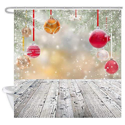 Aliyz Frohe Weihnachten Duschvorhang Bunte Weihnachtskugeln mit Schnee auf grauem Holz für Neujahr Bad Vorhänge wasserdichtes Gewebe Panel Bad Vorhang mit 12 Haken 71X71in -