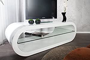 Design bOWL iI meuble tV blanc brillant 120 cm table basse avec plateau en verre