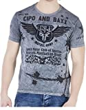 Cipo & Baxx T-Shirt Herren Sweatshirt Kurzarm-Shirt im Destroyed-Look L
