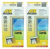 2er Set Schellenberg - Fliegengitter für Camper- und Caravantüren - Anti-Moskito - Insektenschutz - Insektenschutz-Fenster - Mückenschutz - Mücken - Insekten - 40 x 180 cm - weiß - 4 Stück