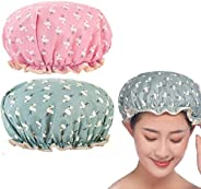 Bath Cap, DELFINO Shower Cap Elastic Band Double Layers Shower Caps With Ruffled Edge Covering Ears Keeping Fi