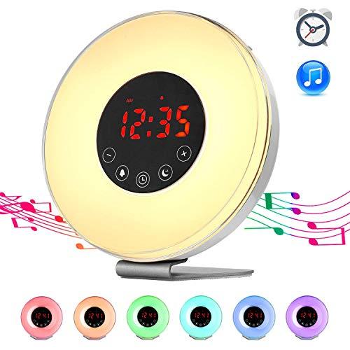 PowerLead Sunrise Alarm Clock- Digitaler Wecker Sonnenaufgang Simulation,lichtwecker Sonnenaufgang mit 7 Farben und 7 Klänge, Snooze, und FM Radio Wecker, tageslichtwecker mit USB