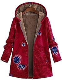Mambain Cappotto Donna Elegante Invernale Felpe Stampe Caldo Addensare  Manica Lungo Taglie Forti Cotone con Cappuccio 9d42323f705