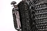 Tigana – Hundefahrradkorb für Gepäckträger aus Weide 44 x 34 cm mit Metallgitter und Kissen eckig Tierkorb in SCHWARZ - 4
