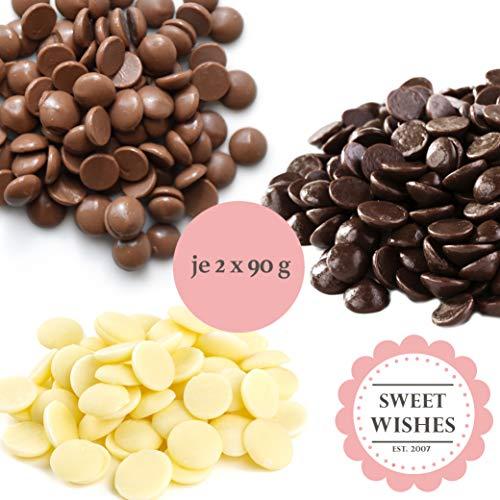 Sweet Wishes Fondue Schokoladen Mix - 6 x 90g Belgische Schokolade - 2 x Vollmilchschokolade, 2 x Weißeschokolade, 2 x Zartbitterschokolade - schmelzender Hochgenuss feine Leckerei für Schokobrunnen