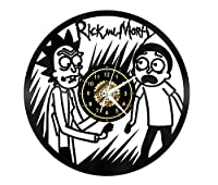 SKYTY Reloj De Pared De Vinilo - Rick Y Morty - Retro Atmosphere Silhouette Record Handmade Gift Cool Home Art Decor No Led Light 12 Inch