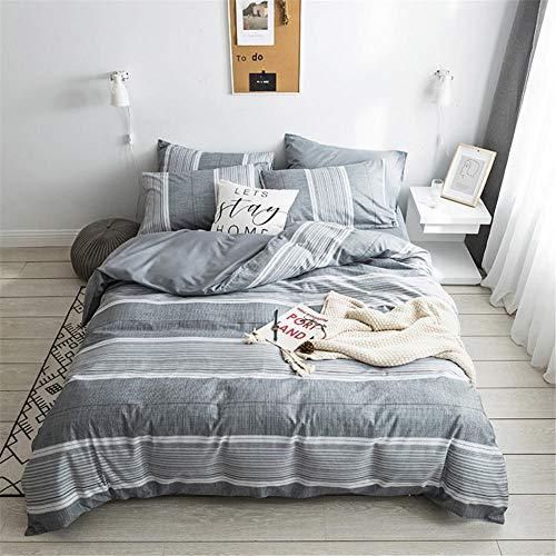 Bettwäscheset Baumwolle Material Nordic Style Einfache Bettwäsche Bettbezug@BA-15_200x230cm/6,56x7,54ft