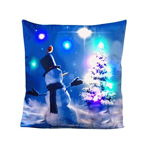Die neue Farbe Lichter Weihnachten Kissen Fall ubabamama LED Lichter, Baumwolle Leinen Dekorative Kissenbezug für Sofa Home Decor 45,7x 45,7cm C