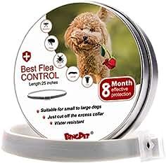 BINGPET Cuello de pulgas y garrapatas para perros – 8 meses de tratamiento de pulgas para