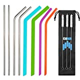 KMMIN Reusable straw, Metal straw Food Grade Safe and BPA Free Colourful Silicone straws & Stainless Steel Straws Multiple 4 Types Straws 8 Pcs Bend Straight Drinking Straws with 3 Cleaning Brushes