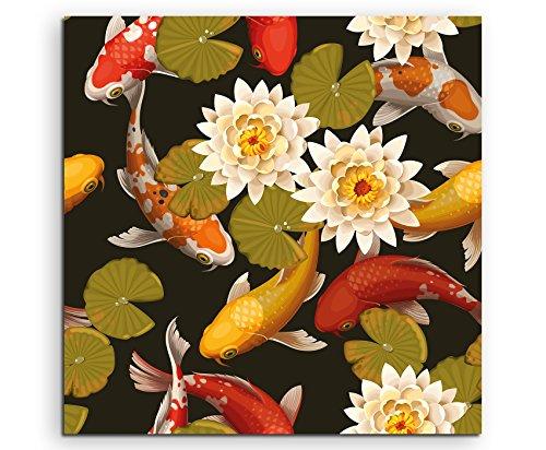 Wandbild quadratisch 60x60cm Bild – Kois und Seerosen (Blumen-prints Koi)
