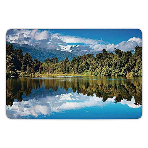 tgyew Bathroom Bath Rug Kitchen Floor Mat Carpet,Lake House Decor,Mirror Reflection on Lake by The Forest with Cloudy Sky in Southern Alps,Green Blue White,Flannel Microfiber Non-Slip Soft Absorbent