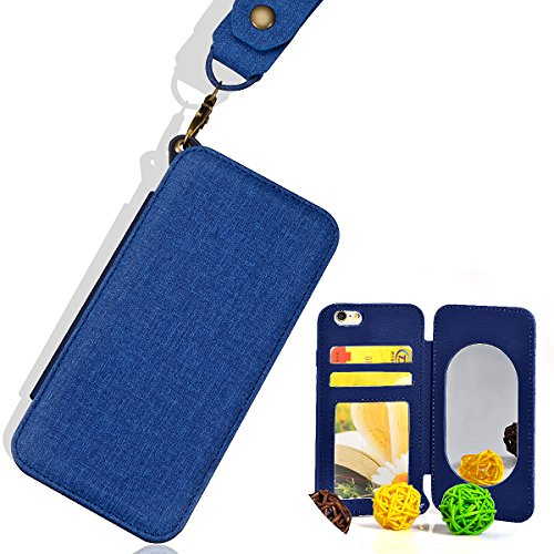 Cover per iPhone 6 Pelle, Custodia per iPhone 6S ,Libro Premium Retro PU e Snap-on Book Style Internamente Silicone TPU Case [2 in 1, Separato] [Pellicole Protettive] - Bonice Stand Flip Wallet Card S Mirror 04