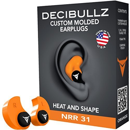 Custom Molded Earplugs: Perfect Fit Ear Protection for Safety, Travel, Work, Shooting (Orange) by Decibullz
