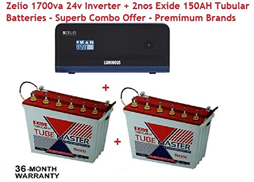 Luminous Zelio 1700va 24v + 2nos Exide 150AH Tubular Battery Great Premium Combo offer!!