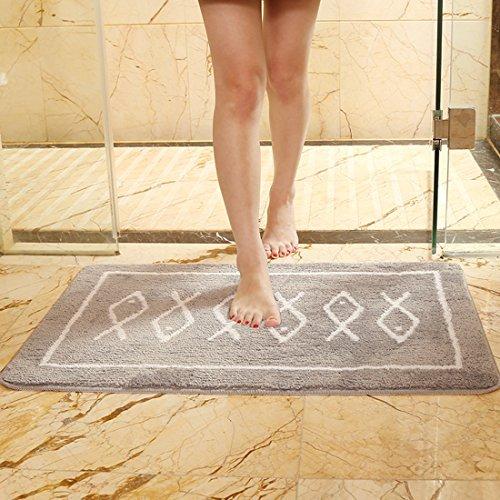 Monba saugfähig Badteppich Badezimmer Teppich rutschfeste weiche Mikrofaser Dusche Teppiche 40x 60cm Mats für Badezimmer Schlafzimmer Küche Wohnzimmer Kinderzimmer, grau, 80*50cm