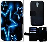 Flip Cover Schutz Hülle Handy Tasche Etui Case für (Samsung Galaxy S4 Mini i9190 i9195, 1576 Sterne Schwarz Blau Neon)